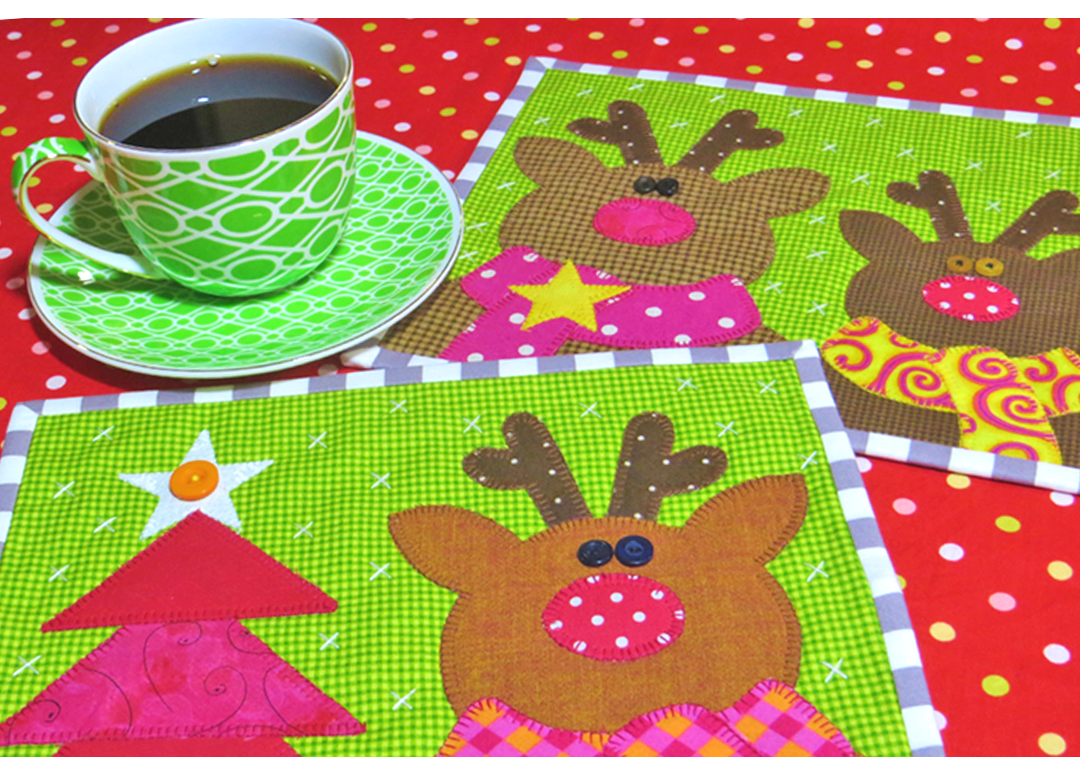 Reindeer Mug Rugs The Red Boot Quilt Co